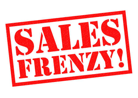 frenzy: SALES FRENZY! red Rubber Stamp over a white background.