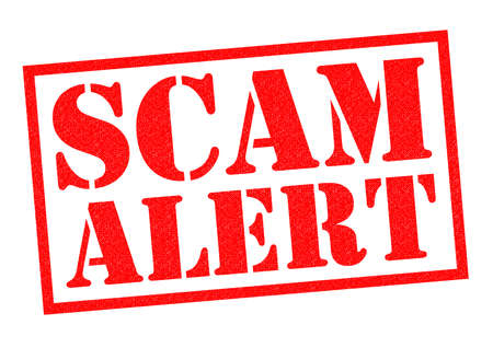 unsafe: SCAM ALERT red Rubber Stamp over a white background.