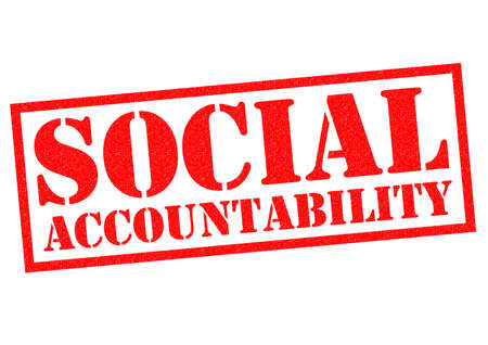 ethics and morals: SOCIAL ACCOUNTABILITY red Rubber Stamp over a white background. Stock Photo