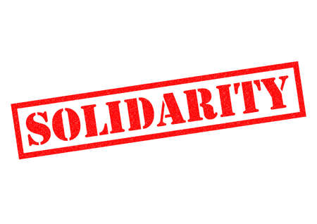 combined effort: SOLIDARITY red Rubber Stamp over a white background.