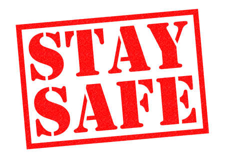 guarded: STAY SAFE red Rubber Stamp over a white background.