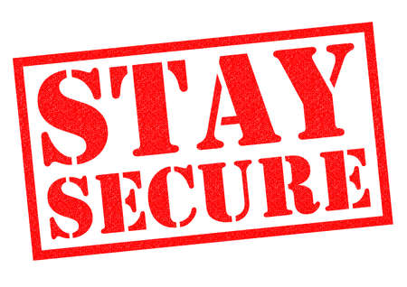 insecurity: STAY SECURE red Rubber Stamp over a white background.
