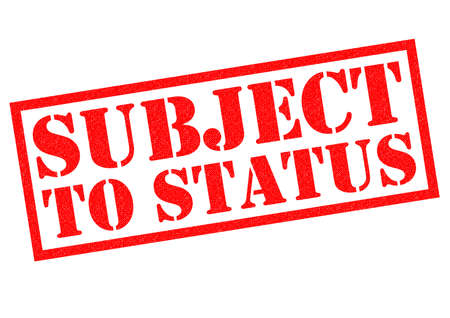 financial condition: SUBJECT TO STATUS red Rubber Stamp over a white background. Stock Photo