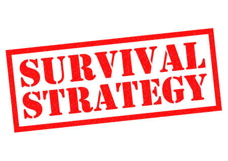 surviving: SURVIVAL STRATEGY red Rubber Stamp over a white background.