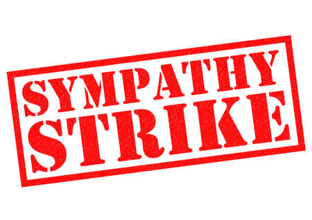 supportive: SYMPATHY STRIKE red Rubber Stamp over a white background.