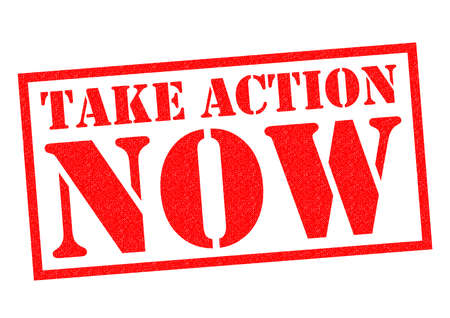TAKE ACTION NOW red Rubber Stamp over a white background. Banco de Imagens