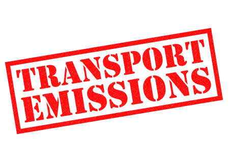 extortion: TRANSPORT EMISSIONS red Rubber Stamp over a white background. Stock Photo
