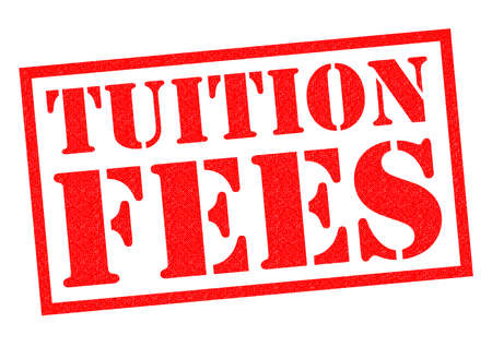 fees: TUITION FEES red Rubber Stamp over a white background.