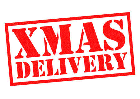XMAS DELIVERY red Rubber Stamp over a white background. Stock Photo