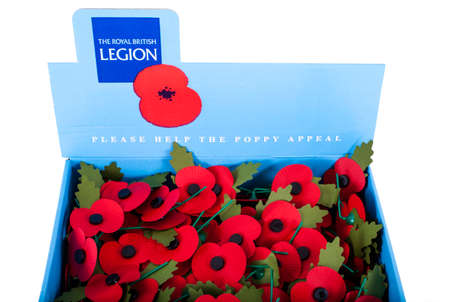 legion: LONDON, UK - NOVEMBER 1ST 2015: A box of artifical poppies produced by the Royal British Legion to commemorate the Remembrance Day events across the UK and the Commonwealth, taken on November 1st 2015. Editorial