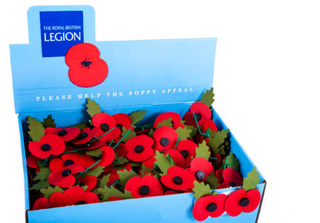 LONDON, UK - NOVEMBER 1ST 2015: A box of artifical poppies produced by the Royal British Legion to commemorate the Remembrance Day events across the UK and the Commonwealth, taken on November 1st 2015. Editorial