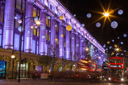 LONDON, UK - DECEMBER 9TH 2015: A view of the beautifully illuminated Selfridge department Store during Christmas on Oxford Street in London, on 9th December 2015. Editorial