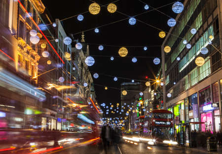 oxford street: LONDON, UK - DECEMBER 9TH 2015: A view of a busy Oxford Street during the lead up to Christmas in London, on 9th December 2015. Editorial