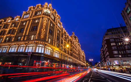 knightsbridge: LONDON, UK - DECEMBER 16TH 2015: A view of the famous Harrods department store in London, on 16th December 2015.  The Harrods brand was founded in 1834 and the store has 330 departments covering over one million square feet. Editorial