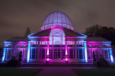 conservatory: A view of the beautifully illuminated Great Conservatory in Syon Park, London.