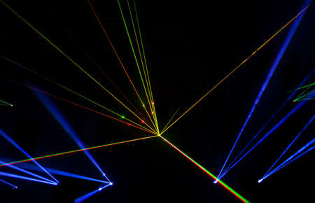 fiber optic lamp: Colorful Laser effect over a plain black background. Stock Photo