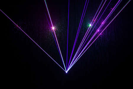 fiber optic lamp: Colorful Laser effect over a plain black background. Stock Photo