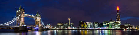 hms: A panoramic view of London taking in the sights of Tower Bridge, City Hall, the Shard and HMS Belfast on the River Thames.