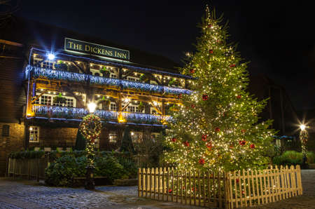 A view of The Dickens Inn Public House at situated in St. Katherine Docks in London during Christmas. Editorial