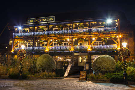 public house: The beautiful Dickens Inn Public House located in St. Katherine Docks in London.