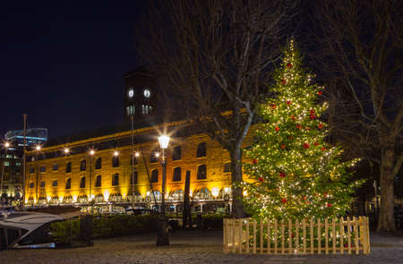 katherine: A Christmas tree at St. Katherine Docks in London.