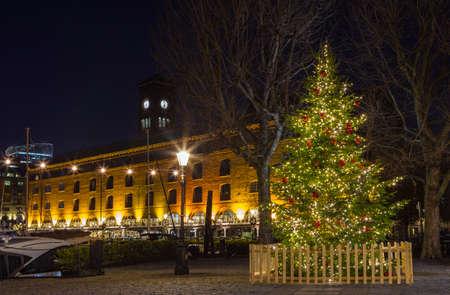 katherine: A Christmas tree at St. Katherine Docks in London.