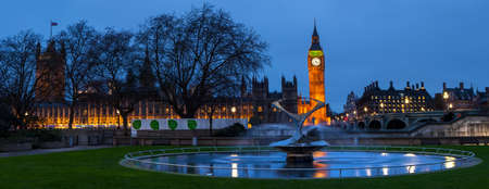 election night: A panoramic view of the Houses of Parliament in Westminster, London.