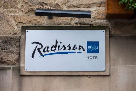 blu: EDINBURGH, SCOTLAND - 4TH JANUARY 2016: A sign for a Radisson Blu Hotel in Edinburgh, on 4th January 2016.