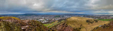 hill of the king: The magnificent panoramic view from Arthur's Seat in Holyrood Park in Edinburgh. Editorial