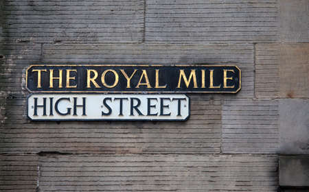 mile high city: Street sign for High Street which is part of the historic Royal Mile in Edinburgh, Scotland. Stock Photo