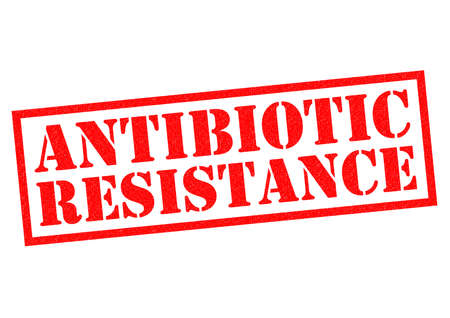 resisting: ANTIBIOTIC RESISTANCE red Rubber Stamp over a white background.