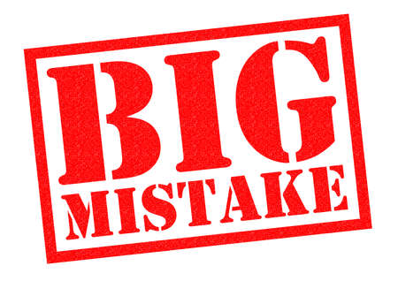 breaking law: BIG MISTAKE red Rubber Stamp over a white background.