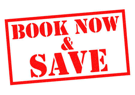 advertised: BOOK NOW & SAVE red Rubber Stamp over a white background.