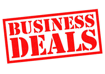 dealings: BUSINESS DEALS red Rubber Stamp over a white background. Stock Photo