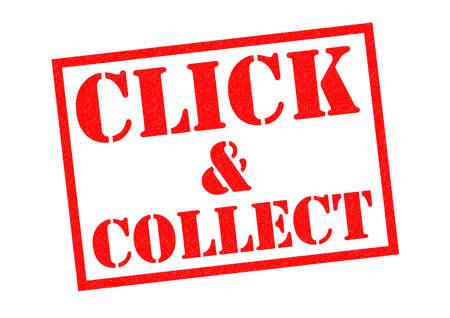 juntar: CLICK & Collect del sello de goma de color rojo sobre un fondo blanco. Foto de archivo