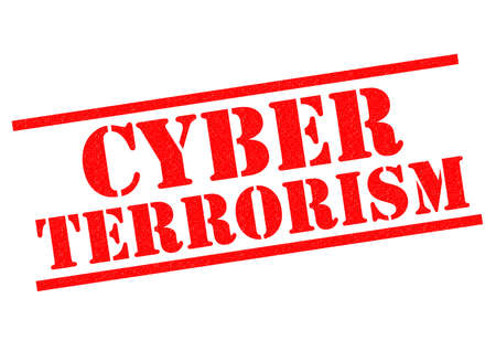 cyber terrorism: CYBER TERRORISM red Rubber Stamp over a white background. Stock Photo