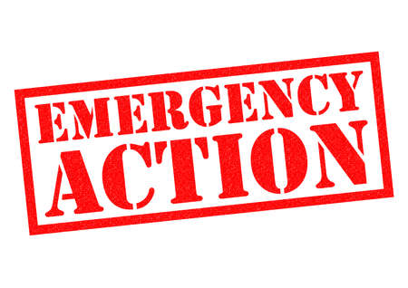 alarming: EMERGENCY ACTION red Rubber Stamp over a white background.