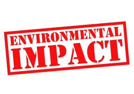 impacted: ENVIRONMENTAL IMPACT red Rubber Stamp over a white background.