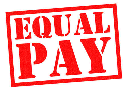 pay check: EQUAL PAY red Rubber Stamp over a white background.