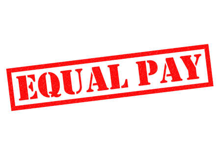 workers rights: EQUAL PAY red Rubber Stamp over a white background.