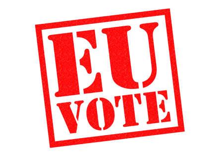 common market: EU VOTE red Rubber Stamp over a white background.