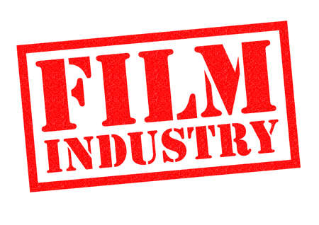 fx: FILM INDUSTRY red Rubber Stamp over a white background. Stock Photo