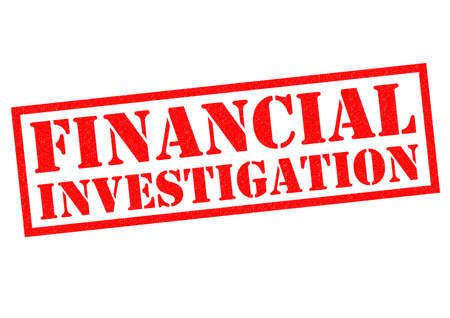 policing: FINANCIAL INVESTIGATION red Rubber Stamp over a white background.