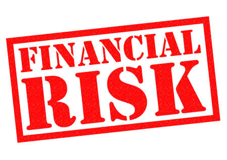 credit crunch: FINANCIAL RISK red Rubber Stamp over a white background.
