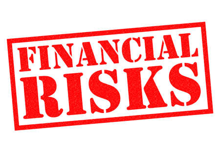credit crunch: FINANCIAL RISKS red Rubber Stamp over a white background. Stock Photo