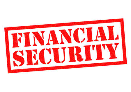 financial security: FINANCIAL SECURITY red Rubber Stamp over a white background. Stock Photo