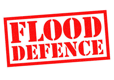 leaks: FLOOD DEFENCE red Rubber Stamp over a white background.