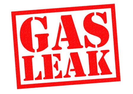 leakage: GAS LEAK red Rubber Stamp over a white background.