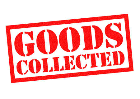white goods: GOODS COLLECTED red rubber Stamp over a white background.