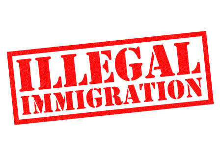 breaking law: ILLEGAL IMMIGRATION red Rubber Stamp over a white background.